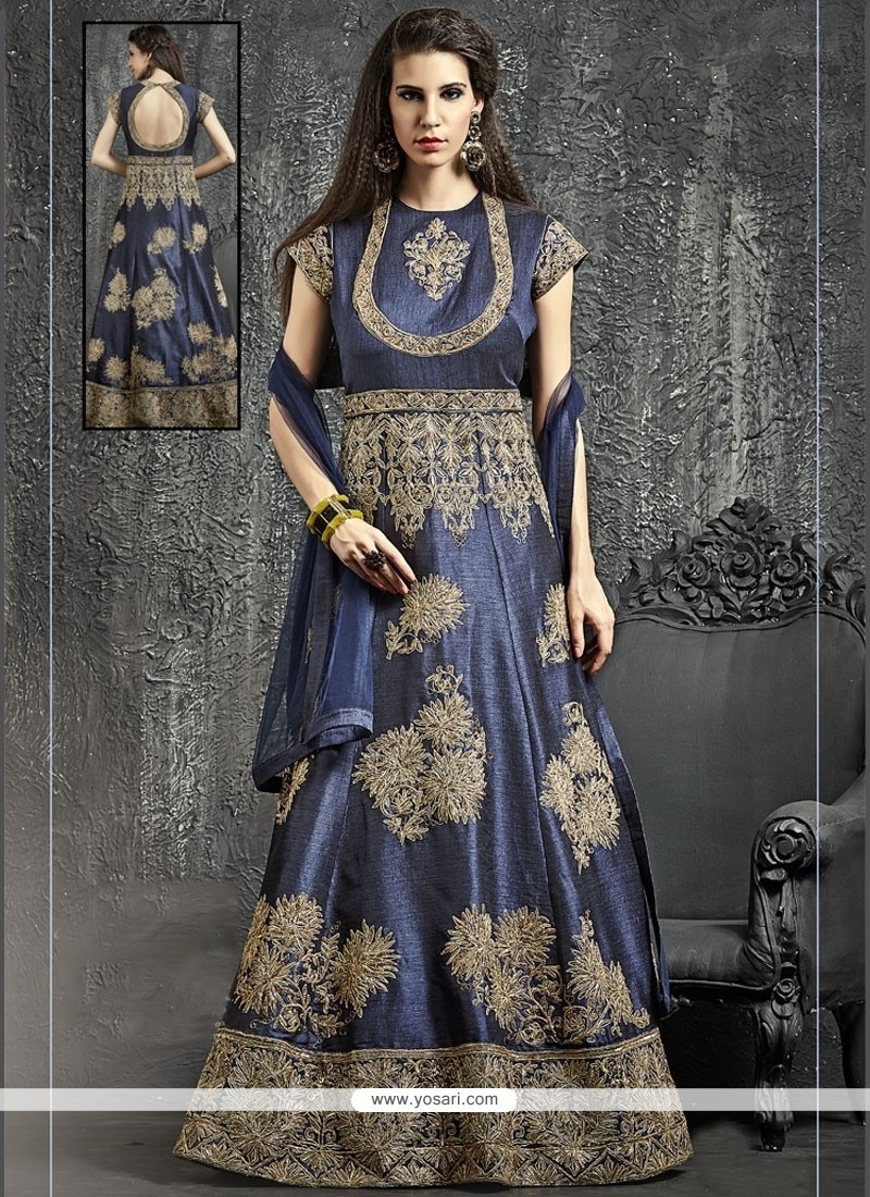 Magnificent Navy Blue Designer Floor Length Suit