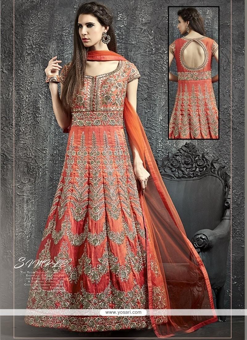 Observable Sequins Work Raw Silk Orange Designer Floor Length Suit