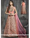 Perfect Kasab Work Raw Silk Peach Designer Floor Length Suit