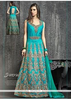 Specialised Kasab Work Turquoise Designer Floor Length Suit