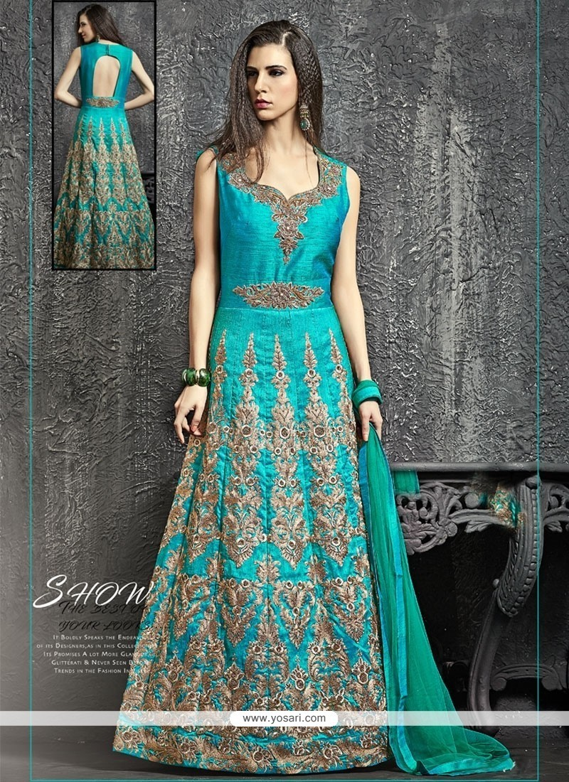 Buy Specialised Kasab Work Turquoise Designer Floor Length Suit ...