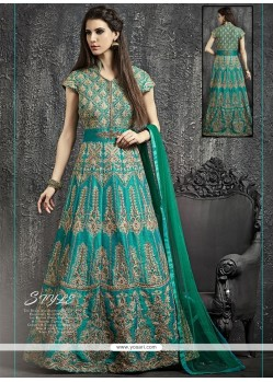 Tantalizing Raw Silk Sea Green Designer Floor Length Suit