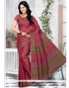 Multi Colour Abstract Print Work Cotton Printed Saree