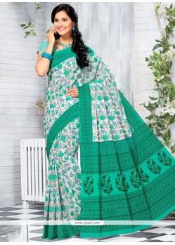 Glorious Print Work Sea Green Printed Saree