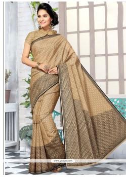 Beige Print Work Cotton Printed Saree