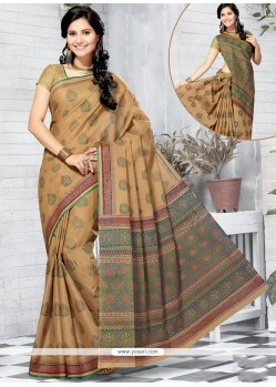 Perfect Cotton Multi Colour Abstract Print Work Printed Saree