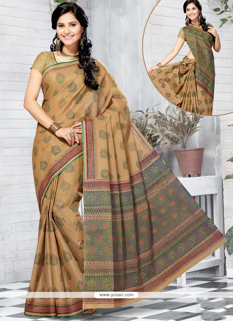 7a1d909f9f Buy Perfect Cotton Multi Colour Abstract Print Work Printed Saree ...