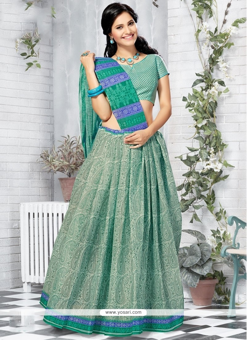 Preferable Sea Green Print Work Cotton Printed Saree