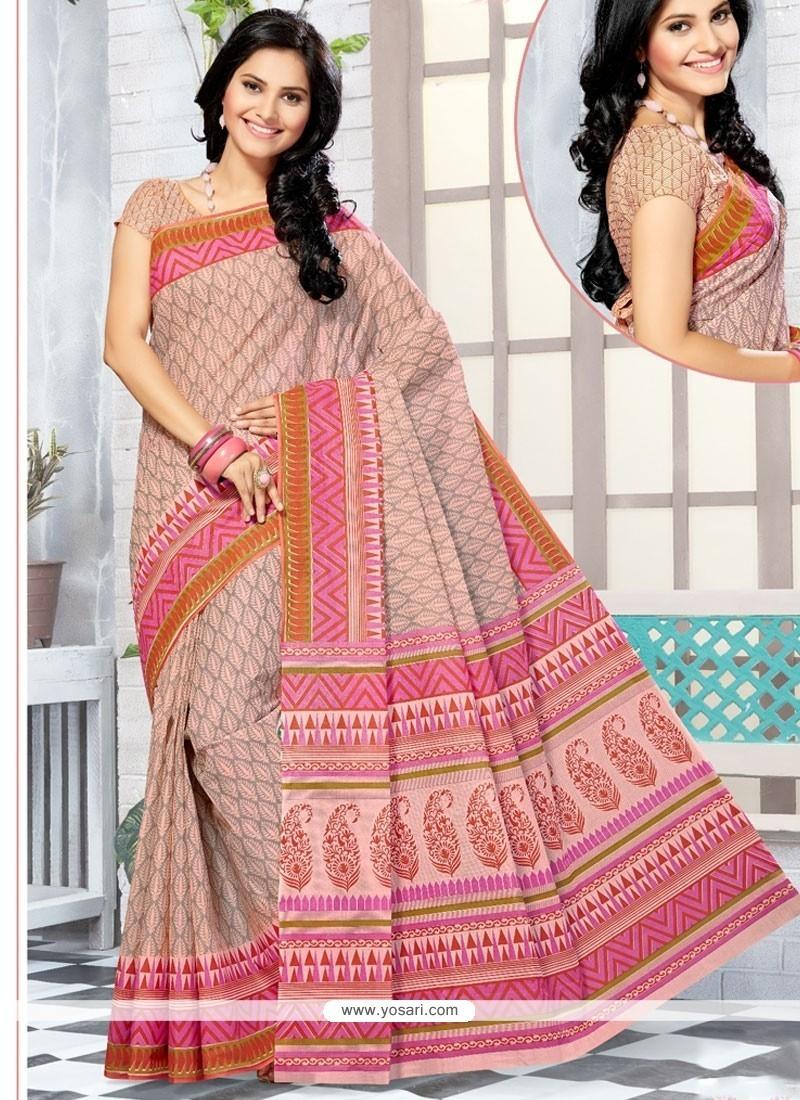 Customary Cotton Print Work Printed Saree