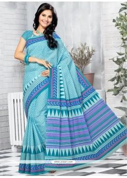 Aristocratic Cotton Turquoise Printed Saree