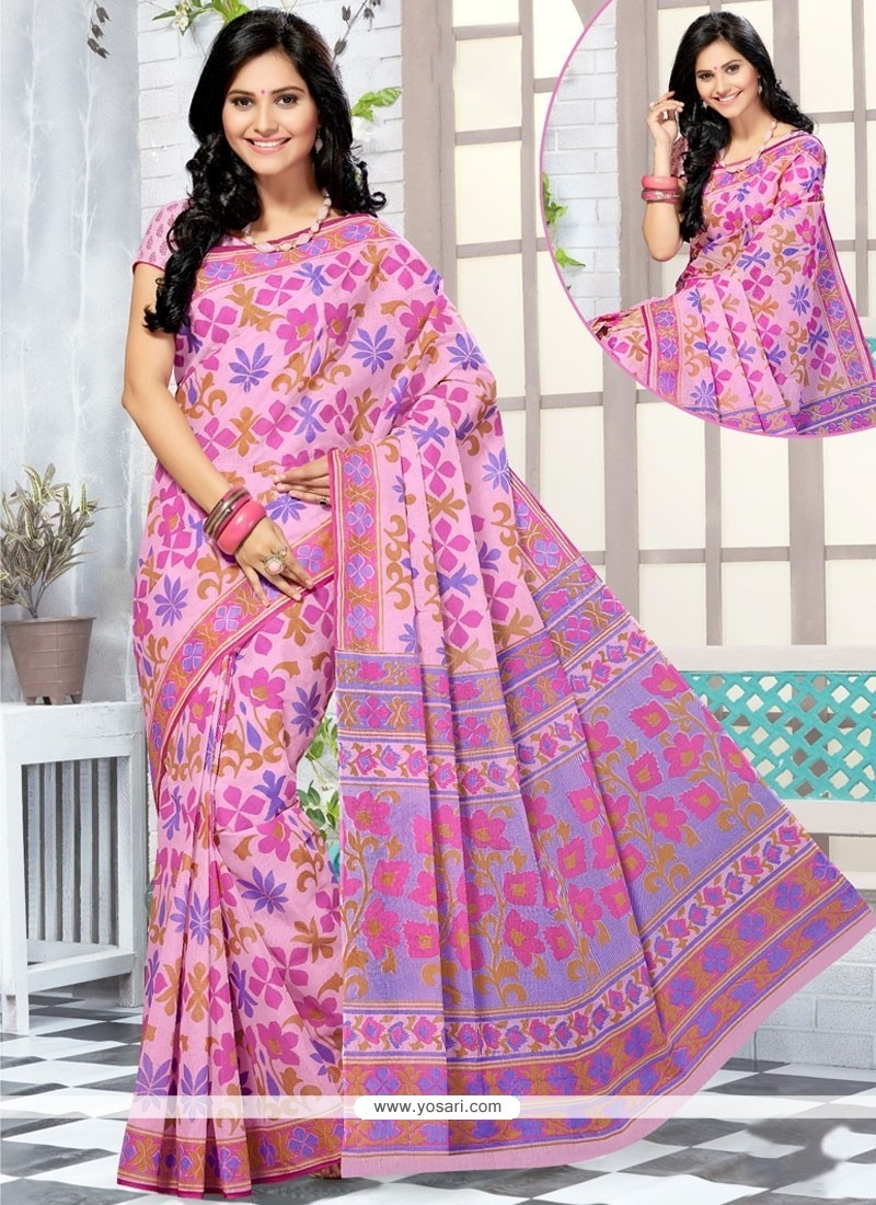 Blissful Cotton Abstract Print Work Printed Saree