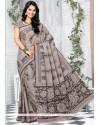 Graceful Cotton Grey Printed Saree