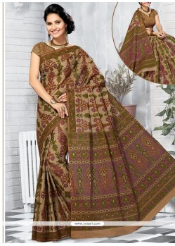Enthralling Cotton Abstract Print Work Printed Saree