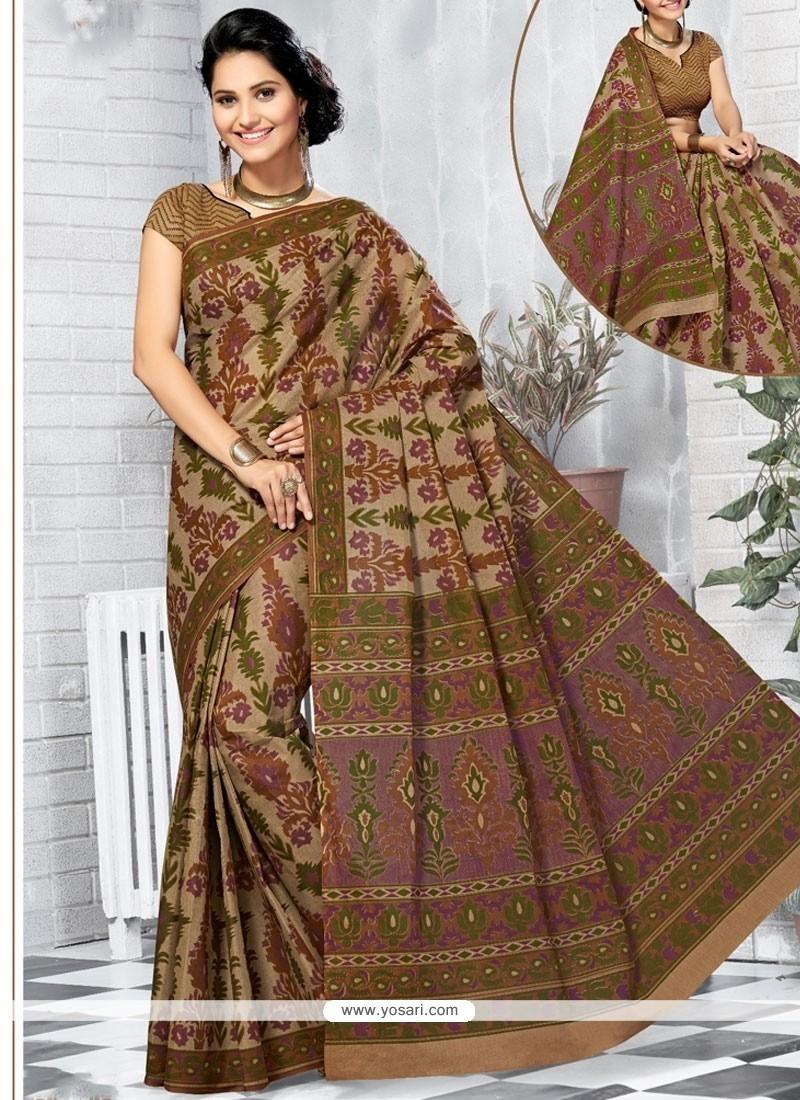 Enthralling Cotton Abstract Print Work Printed Saree