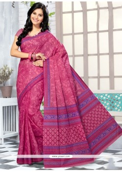 Absorbing Cotton Hot Pink Abstract Print Work Printed Saree