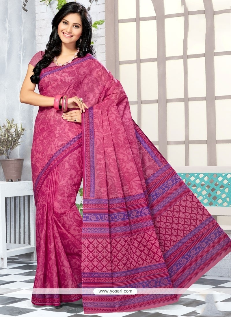 Absorbing Cotton Hot Pink Abstract Print Work Printed Saree