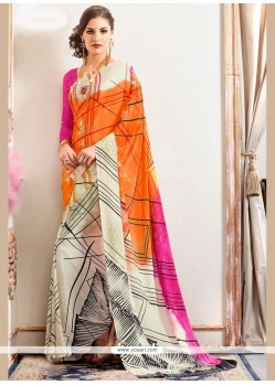 Beautiful Faux Crepe Multi Colour Printed Saree