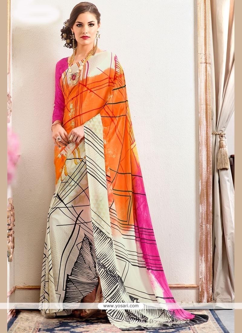 Beautiful Faux Crepe Multi Colour Printed Saree