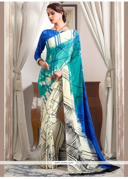 Gorgonize Abstract Print Work Multi Colour Printed Saree