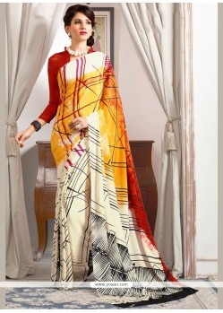 Multi Colour Abstract Print Work Faux Crepe Printed Saree