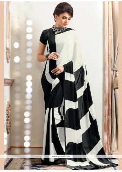 Suave Faux Crepe Black And White Printed Saree
