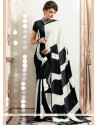 Suave Faux Crepe Black And White Printed Saree