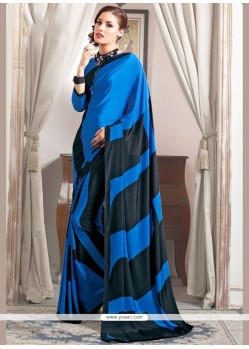Exquisite Print Work Faux Crepe Printed Saree