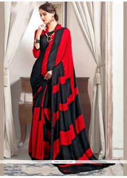 Adorable Black And Red Print Work Faux Crepe Printed Saree