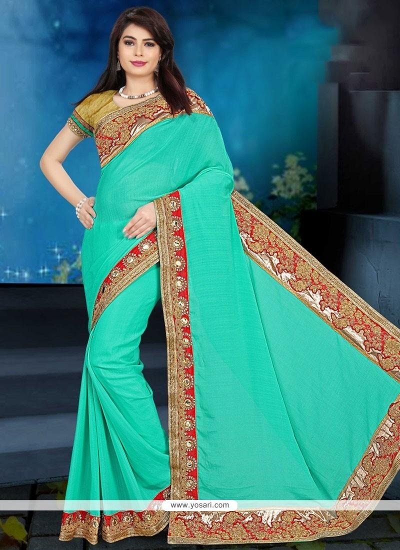 Preferable Sea Green Embroidered Work Art Silk Designer Traditional Saree