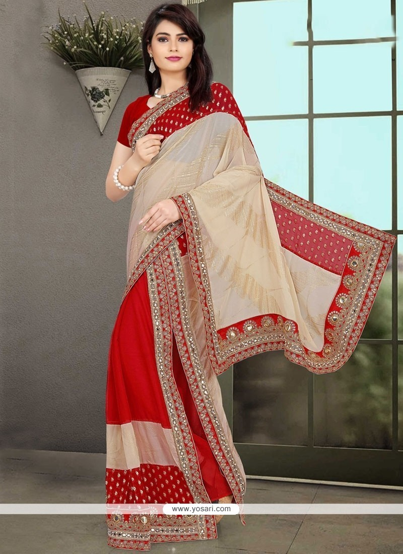 Invaluable Red Embroidered Work Designer Saree