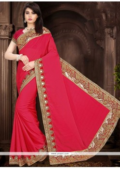 Attractive Faux Chiffon Hot Pink Classic Saree