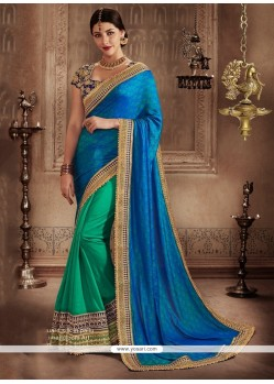 Whimsical Handloom Silk Embroidered Work Designer Half N Half Saree