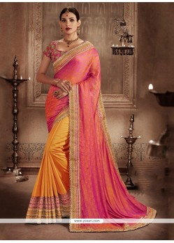 Staggering Orange And Rose Pink Designer Half N Half Saree