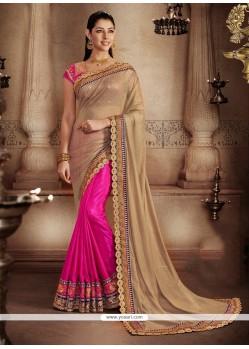 Intriguing Beige And Hot Pink Embroidered Work Handloom Silk Designer Half N Half Saree