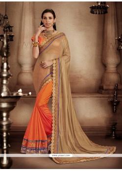 Fashionable Embroidered Work Designer Half N Half Saree