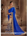 Sterling Beige And Blue Patch Border Work Jacquard Designer Half N Half Saree
