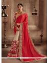 Immaculate Embroidered Work Designer Half N Half Saree
