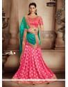 Graceful Hot Pink And Sea Green Designer Half N Half Saree
