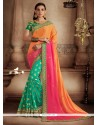 Majestic Hot Pink, Orange And Sea Green Designer Half N Half Saree