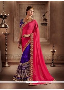 Entrancing Embroidered Work Hot Pink And Purple Designer Half N Half Saree