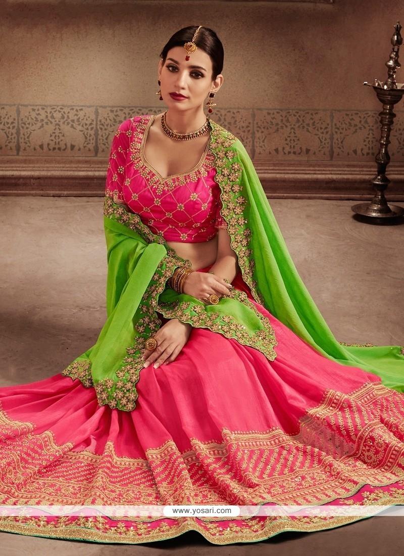 Nice Patch Border Work Green And Hot Pink Designer Half N Half Saree