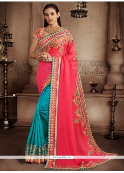Wonderous Hot Pink And Turquoise Faux Chiffon Designer Half N Half Saree