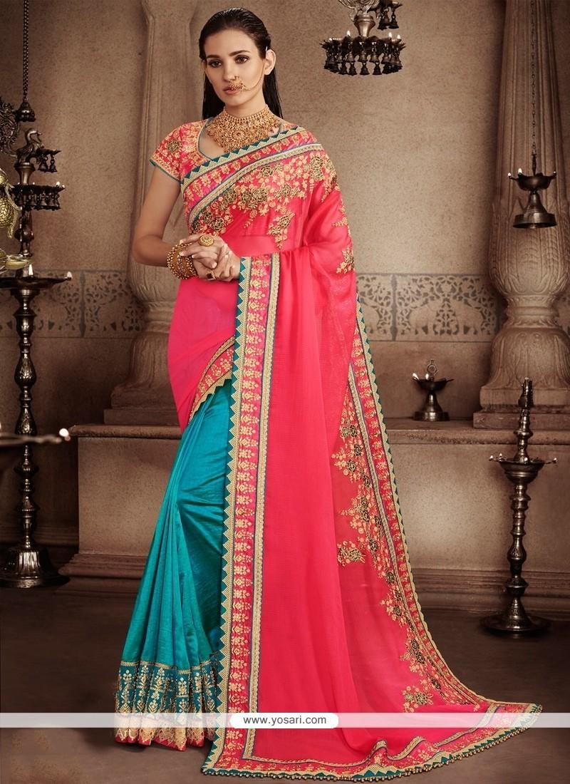 Wonderous Hot Pink And Turquoise Faux Chiffon Designer Half N Half Saree