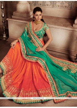 Sterling Orange And Sea Green Art Silk Designer Half N Half Saree