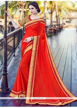 Haute Bamber Georgette Patch Border Work Classic Saree