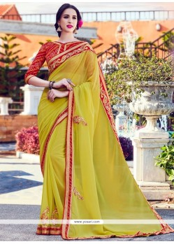 Picturesque Embroidered Work Faux Georgette Classic Designer Saree