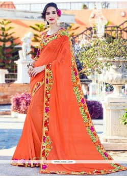 Embroidered Faux Georgette Classic Saree In Orange