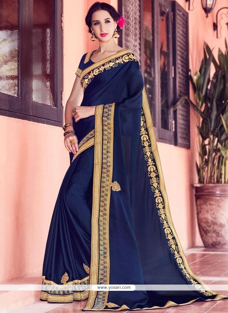 Patch Border Chiffon Satin Classic Designer Saree In Navy Blue