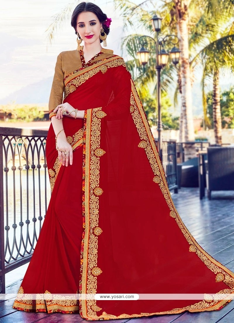 Wonderous Bamber Georgette Red Embroidered Work Saree