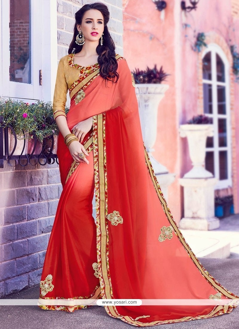 Charismatic Embroidered Work Faux Chiffon Classic Saree